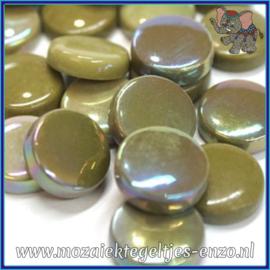 Glasmozaiek steentjes - Optic Drops Normaal en Parelmoer - 20 mm - Gemixte Kleuren - per 50 gram - Mossy Green