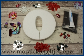Mozaiek Kant & Klaar Pakket Piepschuim Huisnummer Groot - Cijfer 0 Rood