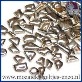 Keramische mozaiek steentjes - Keramiek Puzzel Stukjes Normaal - Enkele Kleuren - per 50 gram - Silver