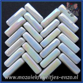 Glasmozaiek steentjes - Stix Rechthoekjes Staafjes Parelmoer - 6 x 20 mm - Enkele Kleuren - per 50 gram - White