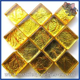Glasmozaiek tegeltjes - Foil - 1 x 1 cm - Enkele Kleuren - per 50 gram - Mini Gold