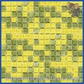 Glasmozaiek tegeltjes - Glitter - 1 x 1 cm - Gemixte Kleuren - per 60 steentjes - Mini Limey Lemon