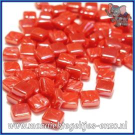 Glasmozaiek Pixel steentjes - Ottoman Parelmoer - 0,8 x 0,8 cm - Enkele Kleuren - per 50 gram - Orange Red