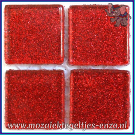 Glasmozaiek tegeltjes - Glitter - 2 x 2 cm - Enkele Kleuren - per 20 steentjes - Heartbreak Red