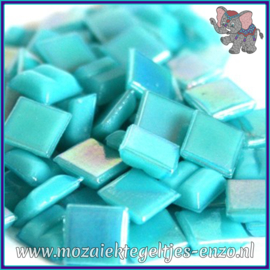 Glasmozaiek tegeltjes - Parelmoer - 1 x 1 cm - Enkele Kleuren - per 60 steentjes - Mini Turquoise