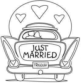 Auto met tekst Just Married