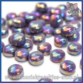 Glasmozaiek steentjes - Optic Drops Parelmoer - 12 mm - Enkele Kleuren - per 50 gram - Deep Purple