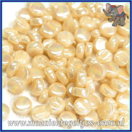 Glasmozaiek Pixel steentjes - Darling Dotz Parelmoer - 0,8 cm - Enkele Kleuren - per 50 gram - Cream