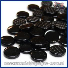 Glasmozaiek steentjes - Penny Rounds Normaal - 18 mm - Enkele Kleuren - per 50 gram - Black Opal