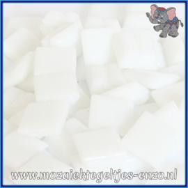 Glasmozaiek tegeltjes - Basic Line - 1 x 1 cm - Enkele Kleuren - per 60 steentjes - Mini Matte White A01