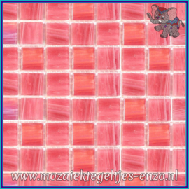 Glasmozaiek tegeltjes - Gold Line - 2 x 2 cm - Enkele Kleuren - per 20 steentjes - Shocking Pink