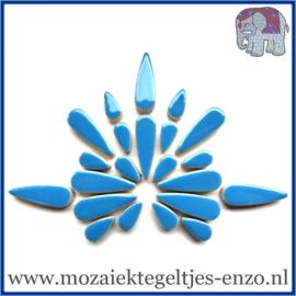 Keramische mozaiek steentjes - Keramiek Teardrops Druppels Normaal - 15 en 30 mm - Enkele Kleuren - per 50 gram - Thalo Blue