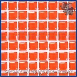 Glasmozaiek tegeltjes - Murrini Crystal - 1 x 1 cm - Enkele Kleuren - per 60 steentjes - Mini Satsuma Orange