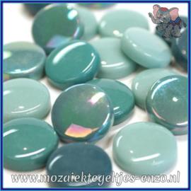 Glasmozaiek steentjes - Optic Drops Normaal en Parelmoer - 20 mm - Gemixte Kleuren - per 50 gram - Winged Teal