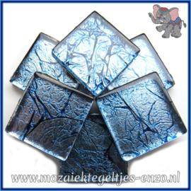 Glasmozaiek tegeltjes - Foil - 2 x 2 cm - Enkele Kleuren - per 20 steentjes - Teal