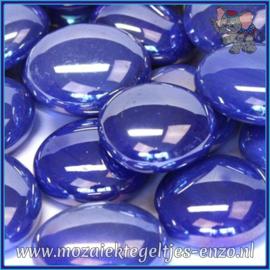 Glasmozaiek steentjes - Glasnuggets/Glasstenen Parelmoer - 18/22 mm - Enkele Kleuren - per 10 stuks - Electric Blue Opalescent