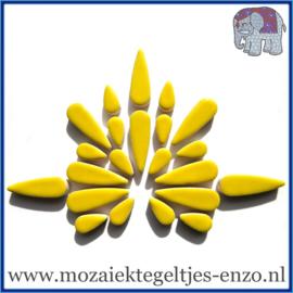 Keramische mozaiek steentjes - Keramiek Teardrops Druppels Normaal - 15 en 30 mm - Enkele Kleuren - per 50 gram - Citrus Yellow