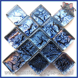 Glasmozaiek tegeltjes - Foil - 1 x 1 cm - Enkele Kleuren - per 50 gram - Mini Cobalt