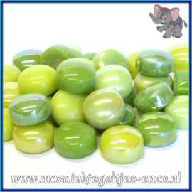 Glasmozaiek steentjes - Optic Drops Normaal en Parelmoer - 12 mm - Gemixte Kleuren - per 50 gram - Green with Envy