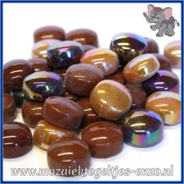 Glasmozaiek steentjes - Optic Drops Normaal en Parelmoer - 12 mm - Gemixte Kleuren - per 50 gram - Chocoluscious
