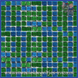 Glasmozaiek tegeltjes - Glitter - 1 x 1 cm - Gemixte Kleuren - per 60 steentjes - Mini Peacock Feather