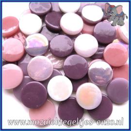 Glasmozaiek steentjes - Penny Rounds Normaal en Parelmoer - 18 mm - Gemixte Kleuren - per 50 gram - Purple Rain