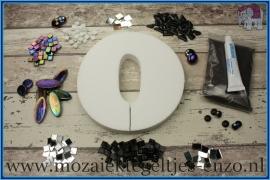 Mozaiek Kant & Klaar Pakket Piepschuim Huisnummer Groot - Cijfer 0 Zwart