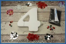 Mozaiek Kant & Klaar Pakket Piepschuim Huisnummer Groot - Cijfer 4 Rood