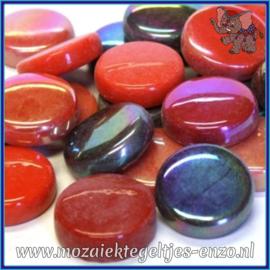 Glasmozaiek steentjes - Optic Drops Normaal en Parelmoer - 20 mm - Gemixte Kleuren - per 50 gram - Scarlet Fever