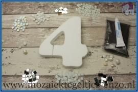 Mozaiek Kant & Klaar Pakket Piepschuim Huisnummer Groot - Cijfer 4 Wit