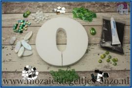 Mozaiek Kant & Klaar Pakket Piepschuim Huisnummer Groot - Cijfer 0 Groen