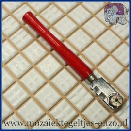 Glassnijder met houten handvat (rood) - Mozaiek gereedschap voor plaatglas en spiegels