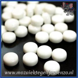 Glasmozaiek steentjes - Optic Drops Normaal - 12 mm - Enkele Kleuren - per 50 gram - Opal White