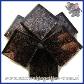Glasmozaiek tegeltjes - Foil - 2 x 2 cm - Enkele Kleuren - per 20 steentjes - Black
