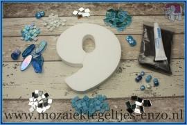 Mozaiek Kant & Klaar Pakket Piepschuim Huisnummer Groot - Cijfer 9 Blauw