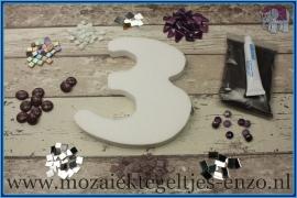 Mozaiek Kant & Klaar Pakket Piepschuim Huisnummer Groot - Cijfer 3 Paars