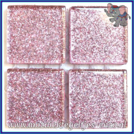 Glasmozaiek tegeltjes - Glitter - 2 x 2 cm - Enkele Kleuren - per 20 steentjes - Heliotrope