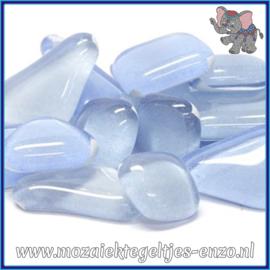 Glasmozaiek steentjes - Soft Glass Puzzles Normaal - Gemixte Kleuren - per 50 gram - Bluebell Blue