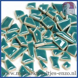 Keramische mozaiek steentjes - Keramiek Puzzel Stukjes Normaal - Enkele Kleuren - per 50 gram - Phthalo Green