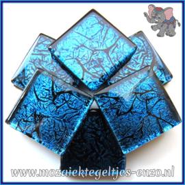 Glasmozaiek tegeltjes - Foil - 2 x 2 cm - Enkele Kleuren - per 20 steentjes - Cobalt