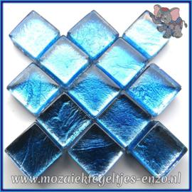 Glasmozaiek tegeltjes - Foil - 1 x 1 cm - Enkele Kleuren - per 50 gram - Mini Aqua