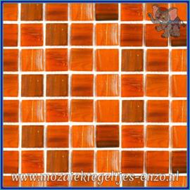 Glasmozaiek tegeltjes - Gold Line - 2 x 2 cm - Enkele Kleuren - per 20 steentjes - Tangerine Gilt