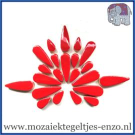Keramische mozaiek steentjes - Keramiek Teardrops Druppels Normaal - 15 en 30 mm - Enkele Kleuren - per 50 gram - Poppy Red
