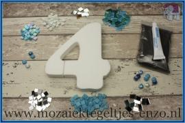 Mozaiek Kant & Klaar Pakket Piepschuim Huisnummer Groot - Cijfer 4 Blauw