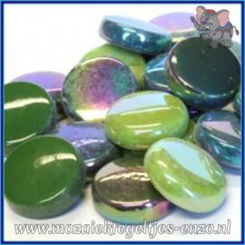 Glasmozaiek steentjes - Optic Drops Normaal en Parelmoer - 20 mm - Gemixte Kleuren - per 50 gram - Treehugger Green