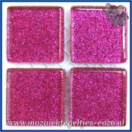 Glasmozaiek tegeltjes - Glitter - 2 x 2 cm - Enkele Kleuren - per 20 steentjes - Fuchsia Magic