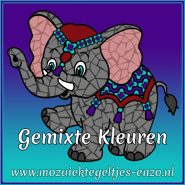 Glasmozaiek steentjes - Art Angles Normaal - 10 mm - Gemixte Kleuren - per 50 gram - Mixed Colours