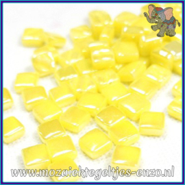 Glasmozaiek Pixel steentjes - Ottoman Parelmoer - 0,8 x 0,8 cm - Enkele Kleuren - per 50 gram - Acid Yellow