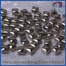 Geglazuurde Keramiek Stenen - 1 x 1 cm - Enkele Kleuren - per 60 steentjes - Silver