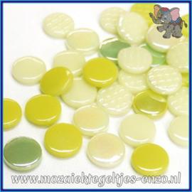 Glasmozaiek steentjes - Penny Rounds Normaal en Parelmoer - 18 mm - Gemixte Kleuren - per 50 gram -Lime Mojito